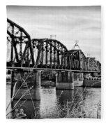 Railroad Bridge -bw Fleece Blanket