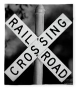 Railroad Crossing Sign Fleece Blanket