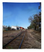 Railroad Tracks Switch Station Fleece Blanket