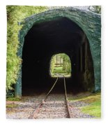 The Railway Passing Through The Tunnel To Meet The Light Fleece Blanket