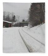 Rails In Snow Fleece Blanket