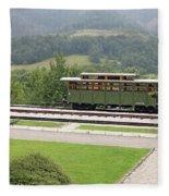 Railway Station On Mountain Vintage Fleece Blanket