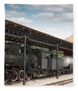Railway Station With Old Steam Locomotive Fleece Blanket