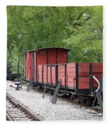 Railway Station With Old Wagons Fleece Blanket