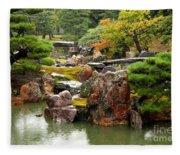 Rain On Kyoto Garden Fleece Blanket
