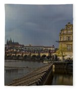 Rain Over Prague Fleece Blanket