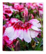 Rain Soaked Dianthus Fleece Blanket