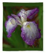 Rain-soaked Iris Fleece Blanket