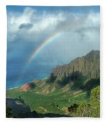 Rainbow At Kalalau Valley Fleece Blanket