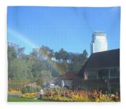 Rainbow At The Falls Fleece Blanket