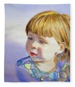 Rainbow Breeze Girl Portrait Fleece Blanket