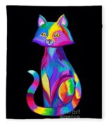Rainbow Cat Fleece Blanket