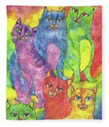 Rainbow Cats 2017 07 01 Fleece Blanket