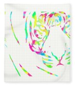 Rainbow Coloured Tiger Fleece Blanket