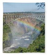 Rainbow Crossing Gorge Beneath Victoria Falls Bridge Fleece Blanket