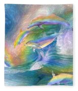 Rainbow Dolphins Fleece Blanket