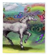 Rainbow Faeries And Unicorn Fleece Blanket