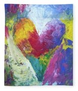 Rainbow Heart In The Cloud Acrylic Paintings Fleece Blanket