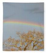 Rainbow Illumined Oak Tree Fleece Blanket