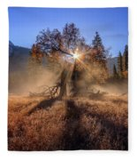 Rainbow In Yosemite Valley Ice Fog Fleece Blanket