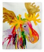 Rainbow Moose Head  - Abstract Fleece Blanket