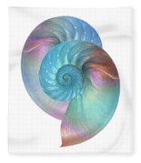 Rainbow Nautilus Pair On White Fleece Blanket