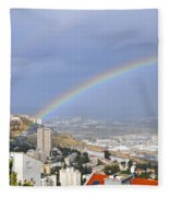Rainbow Over Haifa, Israel  Fleece Blanket