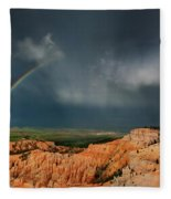 Rainbow Over Hoodoos Bryce Canyon National Park Utah Fleece Blanket
