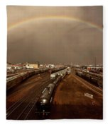 Rainbow Over Moose Jaw Saskatchewan Fleece Blanket