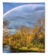 Rainbow Over The River Fleece Blanket