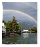Rainbow Over Thiou River In Annecy Fleece Blanket