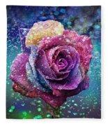 Rainbow Rose In The Rain Fleece Blanket