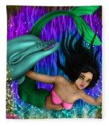 Rainbow Sea Mermaid - Fantasy Art Fleece Blanket