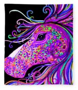 Rainbow Spotted Horse Head 2 Fleece Blanket