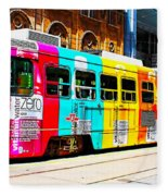 Rainbow Streetcar Fleece Blanket