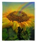 Rainbow Sunflower Fleece Blanket