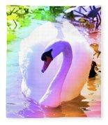 Rainbow Swan Fleece Blanket