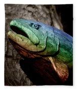 Rainbow Trout Wood Sculpture Fleece Blanket