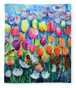 Rainbow Tulips Fleece Blanket