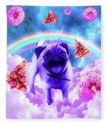 Rainbow Unicorn Pug In The Clouds In Space Fleece Blanket