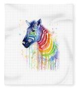 Rainbow Zebra - Ode To Fruit Stripes Fleece Blanket