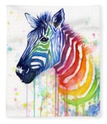Rainbow Zebra - Ode To Fruit Stripes Fleece Blanket