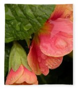 Raindrops On Coral Flowers Fleece Blanket