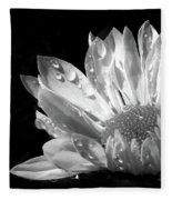 Raindrops On Daisy Black And White Fleece Blanket