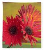 Raindrops On Gerbera Fleece Blanket