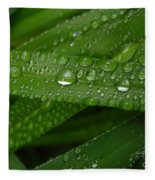 Raindrops On Green Leaves Fleece Blanket