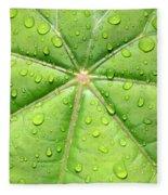 Raindrops On Leaf Fleece Blanket