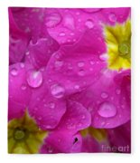 Raindrops On Pink Flowers Fleece Blanket