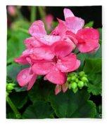 Raindrops On Pink Geranium Fleece Blanket