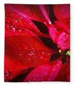 Raindrops On Red Poinsettia Fleece Blanket